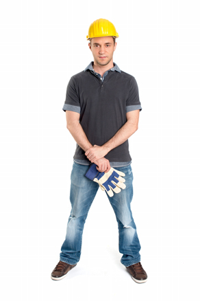 Handwerker mit Arbeitshandschuhen