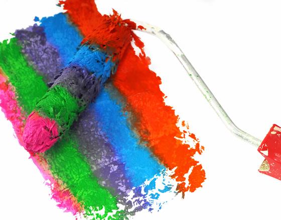Farbrolle mit bunten Farben