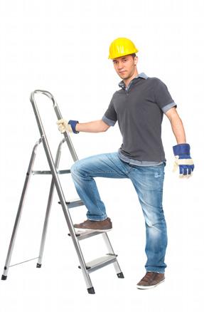 Handwerker auf einer Leiter