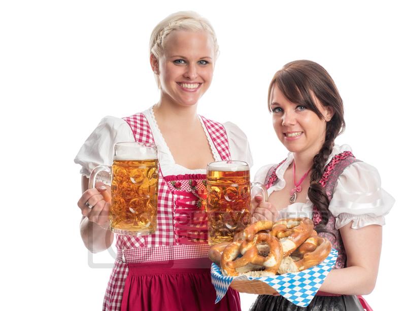 bayerische Frauen mit Bier und Brezel