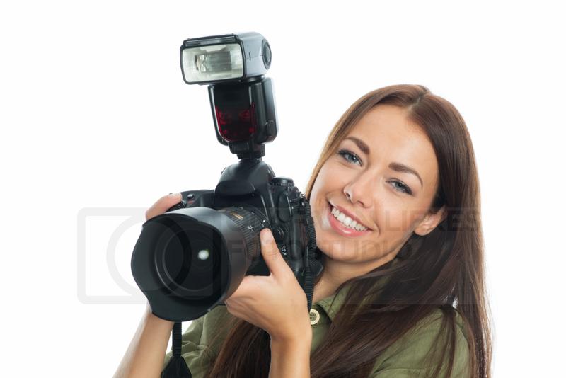 attraktive Frau mit Kamera